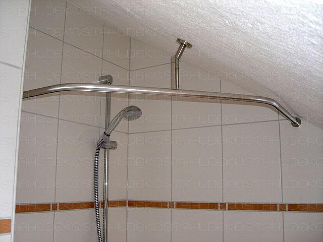 Duschstange L Form Barrierefrei Für Dusche Oder Badewanne Edelstahl Oder Weiß Mit Innenlaufprofil Wand Deckenbefestigung