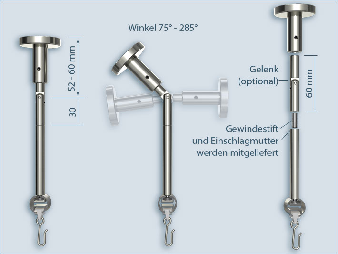 Duschstange L-Form, Für Dusche, Badewanne Oder
