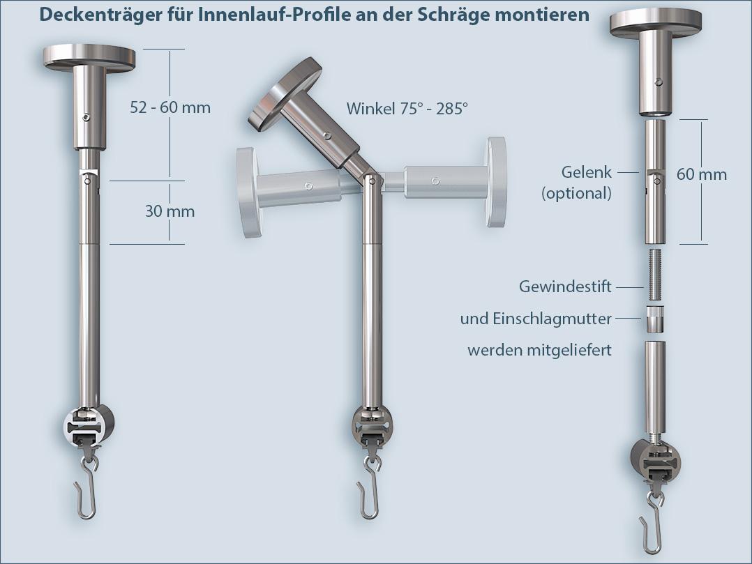 Vorhangstange Mit Deckenmontage Und Axialer: Innenlauf-Gardinenstange Standard 1-läufig Für