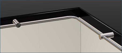 Reling für Küche, System Pfosten 10 Edelstahl V2A inkl. Haken für ...