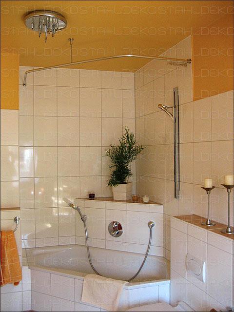 runde duschvorhangstange f r viertelkreis badewanne farben edelstahl oder wei. Black Bedroom Furniture Sets. Home Design Ideas