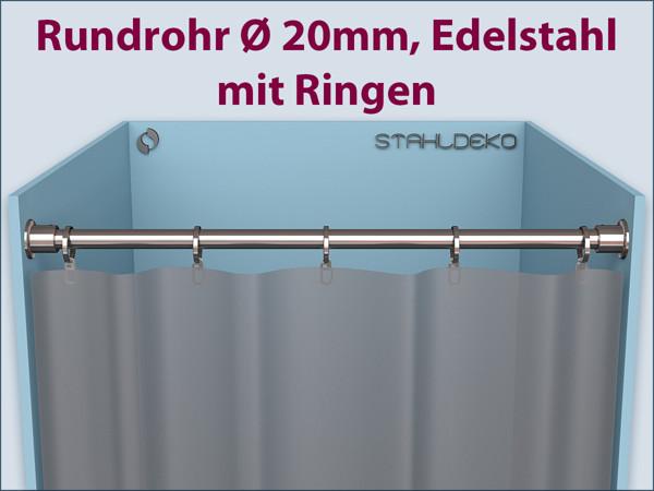 duschvorhang halterung aus edelstahl 20mm gerade. Black Bedroom Furniture Sets. Home Design Ideas