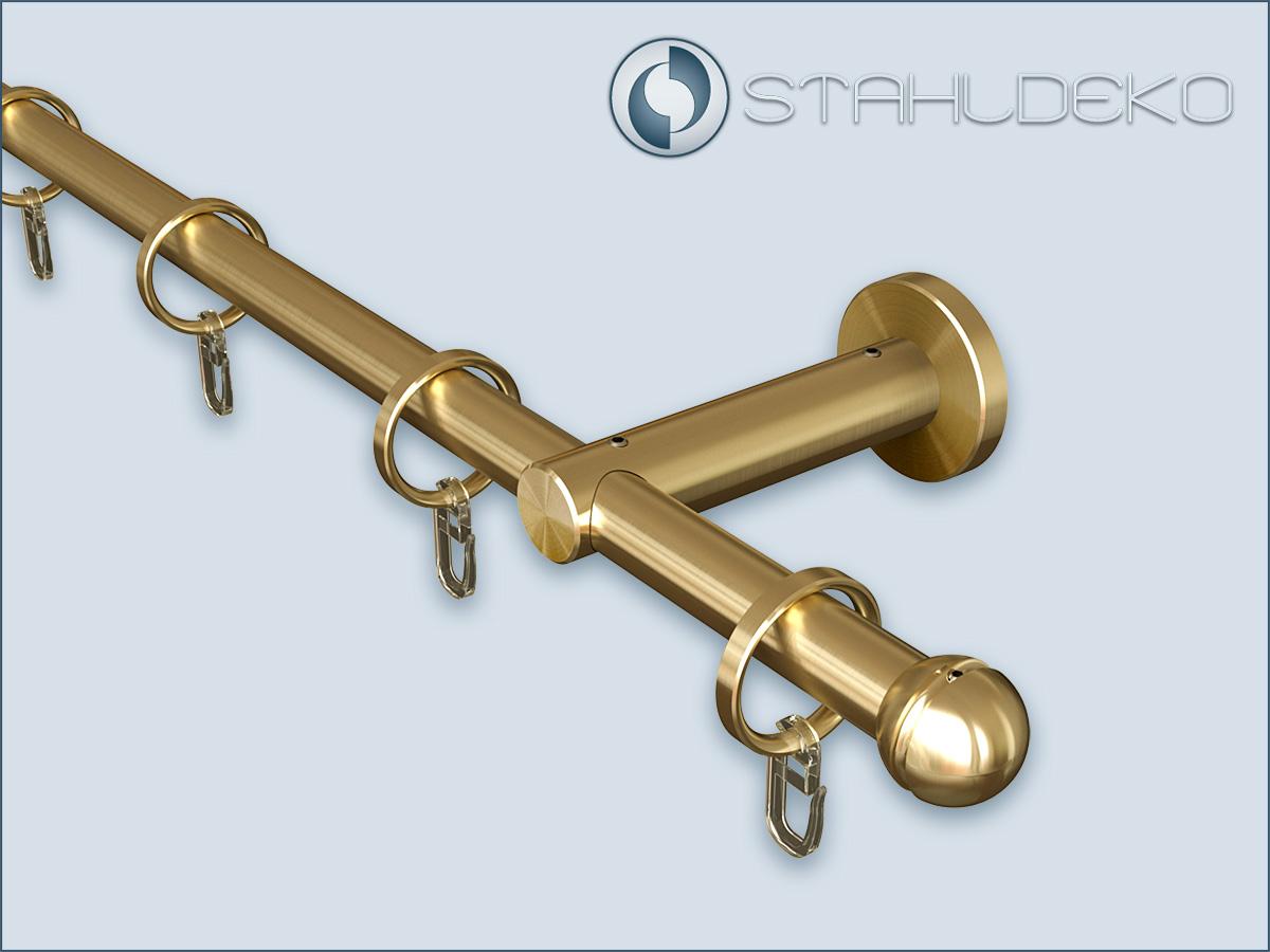 b roeinrichtung messing gardinenstange pfosten16 kugel einl ufig mit ringen. Black Bedroom Furniture Sets. Home Design Ideas