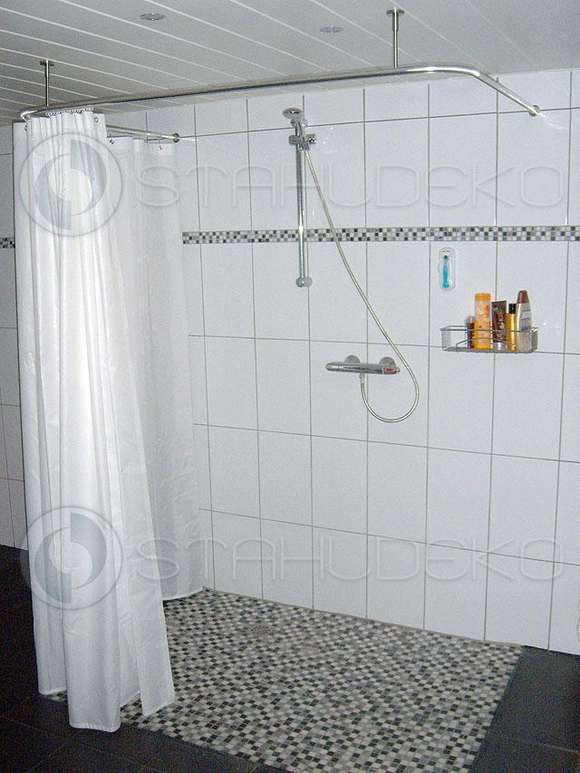 duschvorhangstange u form barrierefrei f r badewannen oder dusche edelstahl oder wei. Black Bedroom Furniture Sets. Home Design Ideas