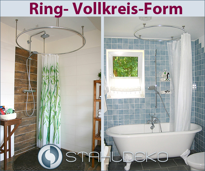 Vollkreis Duschvorhangstange als Ring gebogen für Dusche und Badewanne  barrierefrei und behindertengerecht
