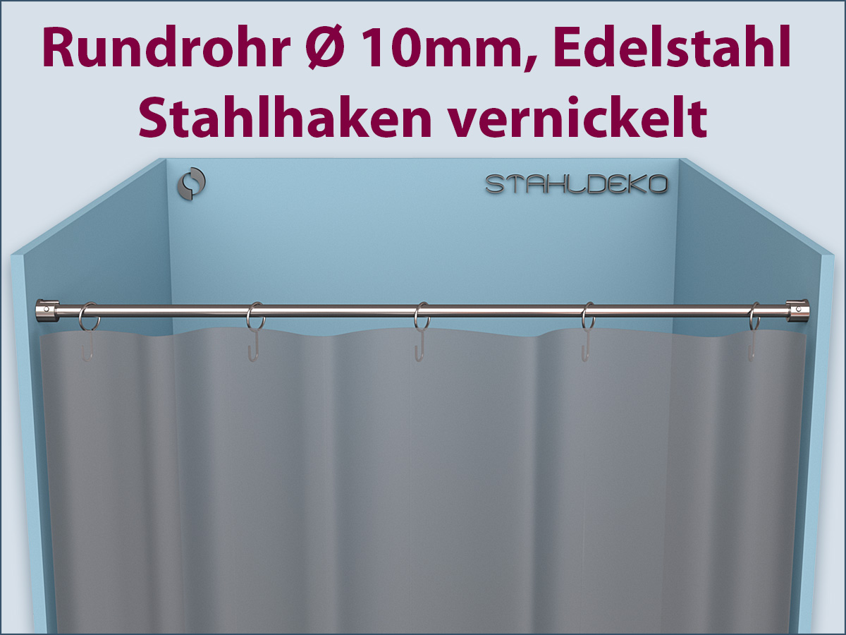duschvorhang befestigung gerade duschvorhangstange 10mm edelstahl mit haken. Black Bedroom Furniture Sets. Home Design Ideas