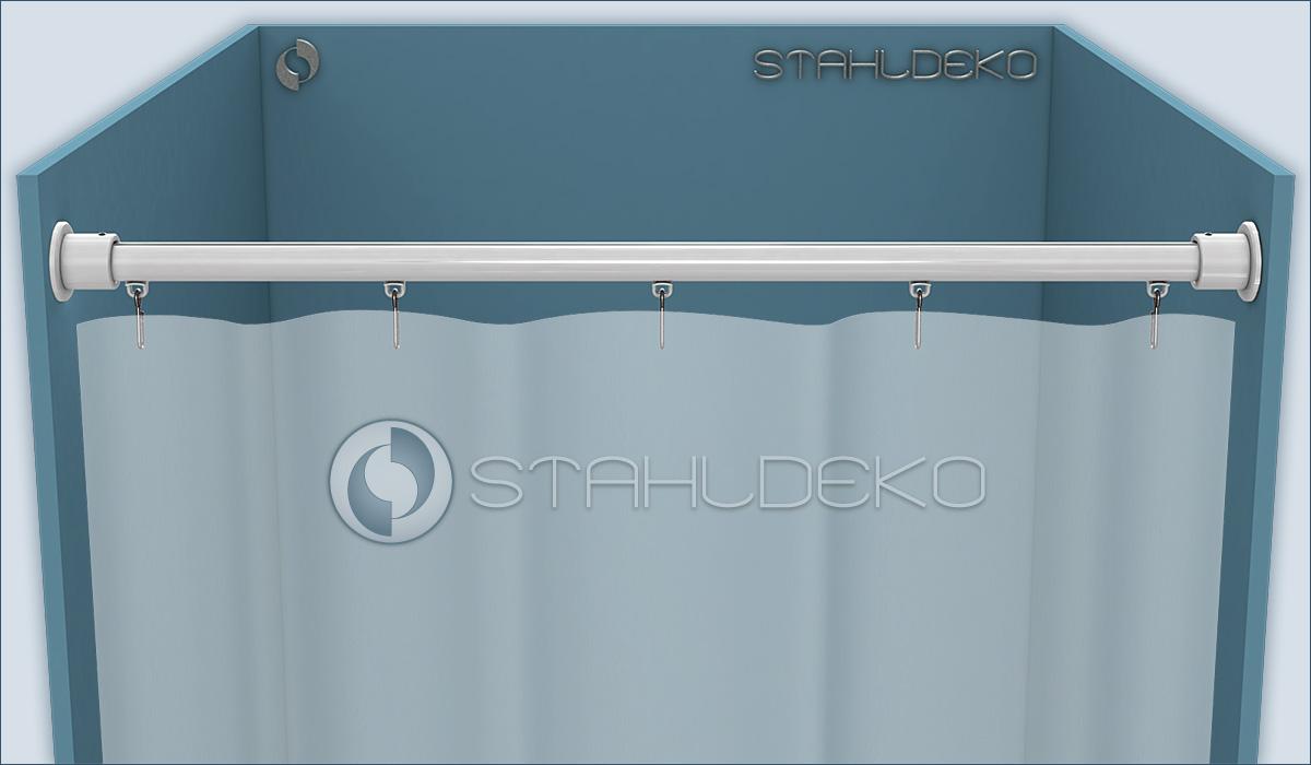 innenlauf duschvorhangstange 20mm gerade edelstahl. Black Bedroom Furniture Sets. Home Design Ideas