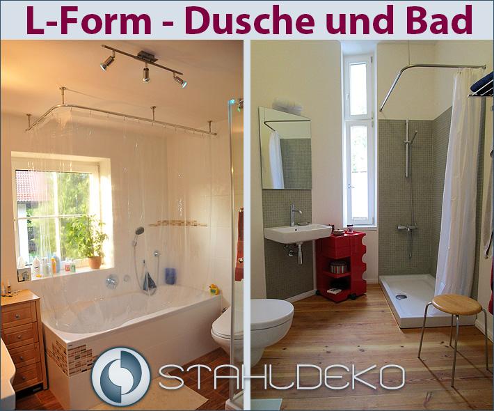 Duschstange L-Form barrierefrei, für Dusche oder Badewanne, Edelstahl oder  Weiß, mit Innenlaufprofil, Wand- Deckenbefestigung